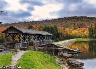 Covered Bridge along the Marilla Bridges Trail near Bradford, Pennsylvania.