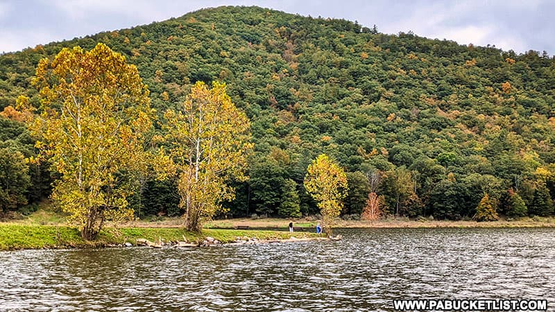 Fall foliage around the George Stevenson Reservoir at Sinnemahoning State Park on October 12th, 2021.