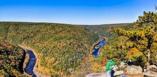 Fall foliage views at Tank Hollow Vista above the Lehigh River in Carbon County.