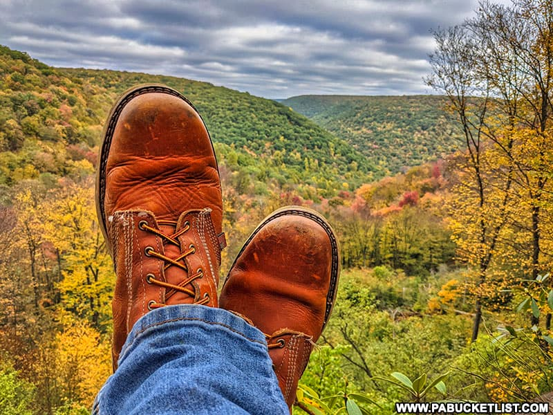 Relaxing at Teaberry Trail Vista in the Quehanna Wild Area.